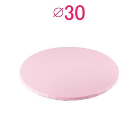 Gruby, sztywny podkład pod tort, ciasto okrągły - Jasny Różowy - średnica: 30 cm, grubość: 1 cm - Podkłady Cukiernicze Julita