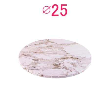 Gruby, sztywny podkład pod tort, ciasto okrągły - Jasny Marmur - średnica: 25 cm, grubość: 1 cm - Podkłady Cukiernicze Julita
