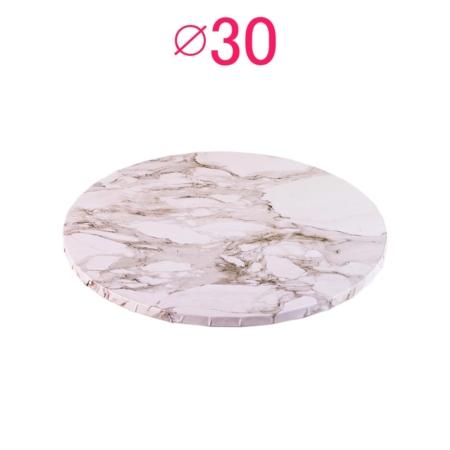 Gruby, sztywny podkład pod tort, ciasto okrągły - Jasny Marmur - średnica: 30 cm, grubość: 1 cm - Podkłady Cukiernicze Julita