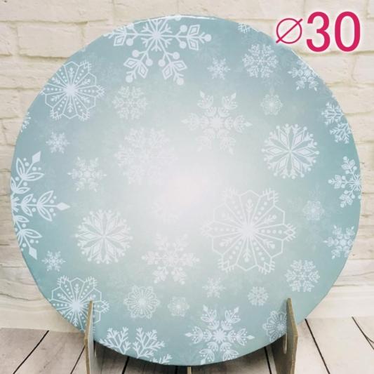 Gruby, sztywny podkład pod tort, ciasto okrągły - Płatki Śniegu, Snowflakes - średnica: 30 cm, grubość: 1 cm - Podkłady Cukiernicze Julita
