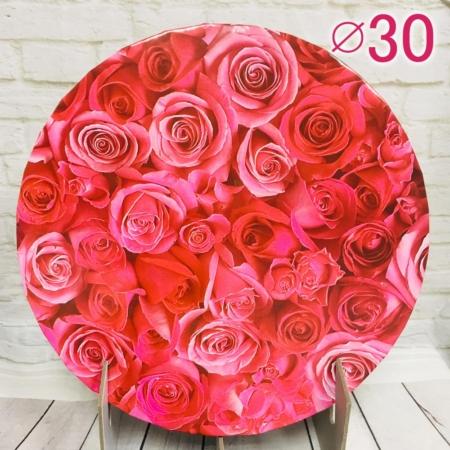 Gruby, sztywny podkład pod tort, ciasto okrągły - Czerwone Róże - średnica: 30 cm, grubość: 1 cm - Podkłady Cukiernicze Julita