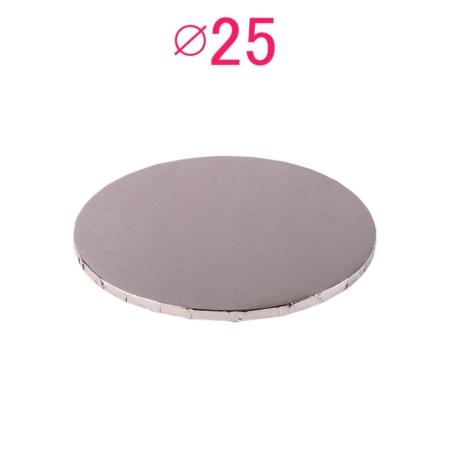Gruby, sztywny podkład pod tort, ciasto okrągły - Srebrny - średnica: 25 cm, grubość: 1 cm - Podkłady Cukiernicze Julita