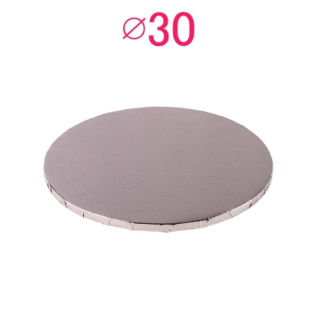 Gruby, sztywny podkład pod tort, ciasto okrągły - Srebrny - średnica: 30 cm, grubość: 1 cm - Podkłady Cukiernicze Julita
