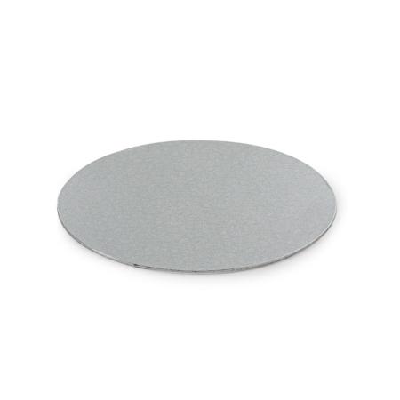 Cienki podkład pod tort Okrągły Srebrny Ø 25 cm, h 0,3 cm Decora