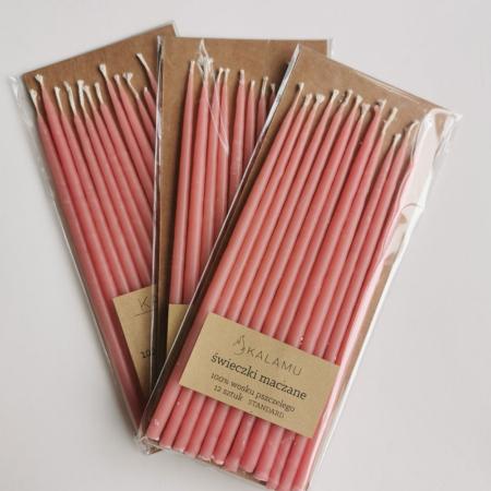Naturalne Ekologiczne Świeczki z wosku pszczelego – Różowe Walentynki Standard – 12 szt. - Kalamu