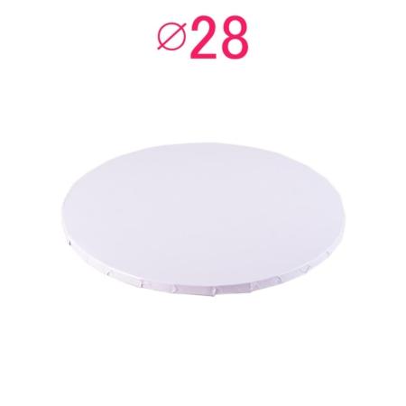 Gruby, sztywny podkład pod tort, ciasto okrągły - Biały - średnica: 28 cm, grubość: 1 cm - Podkłady Cukiernicze Julita