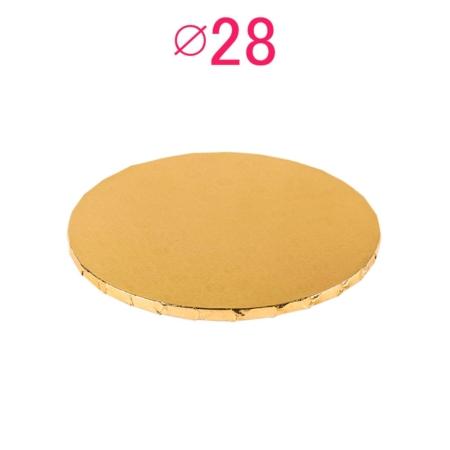 Gruby, sztywny podkład pod tort, ciasto okrągły - Złoty - średnica: 28 cm, grubość: 1 cm - Podkłady Cukiernicze Julita