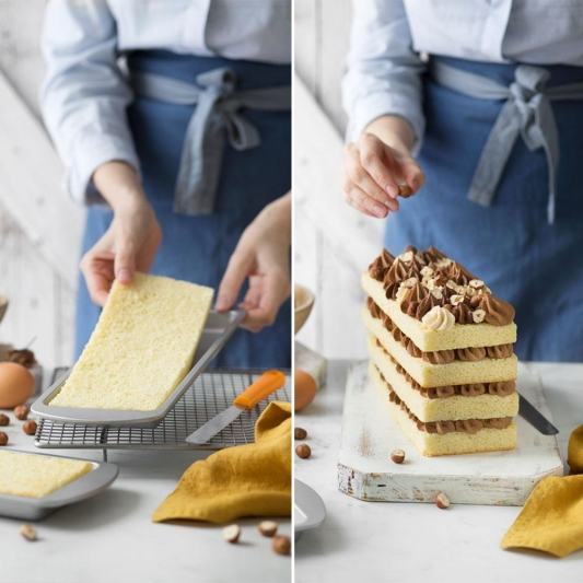 Zestaw prostokątnych form do pieczenia ciast wielowarstwowych