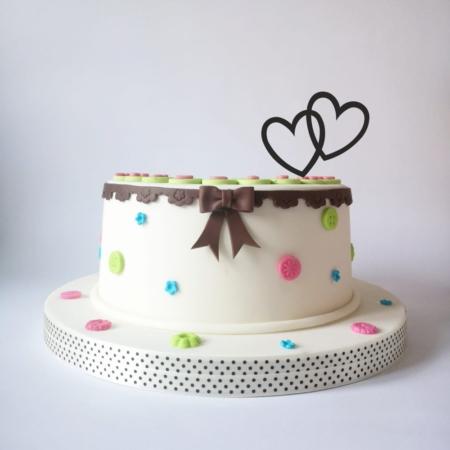 Mini Topper na tort - Miniowe Formy - Dwa serca - 6 cm Złoto