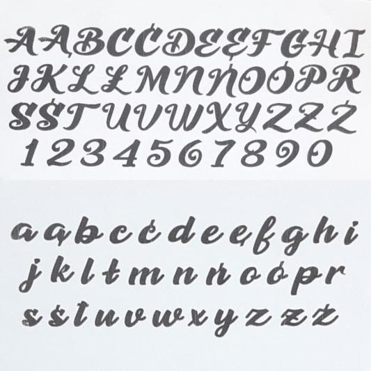 Alfabet i cyfry na tort stemple z uchwytami - Ozdobny - PC Julita